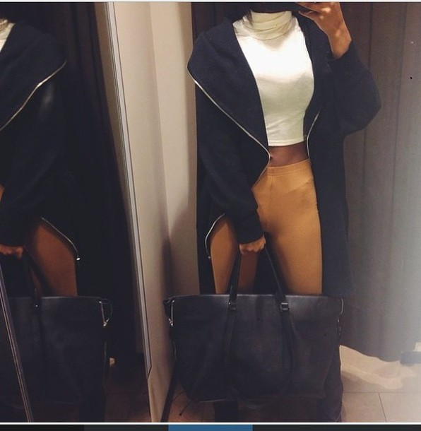 coat black outerwear sweater winter coat jacket long jacket long coat bag crop tops handbag tights