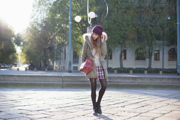 scent of obsession coat skirt sweater jewels hat shoes bag