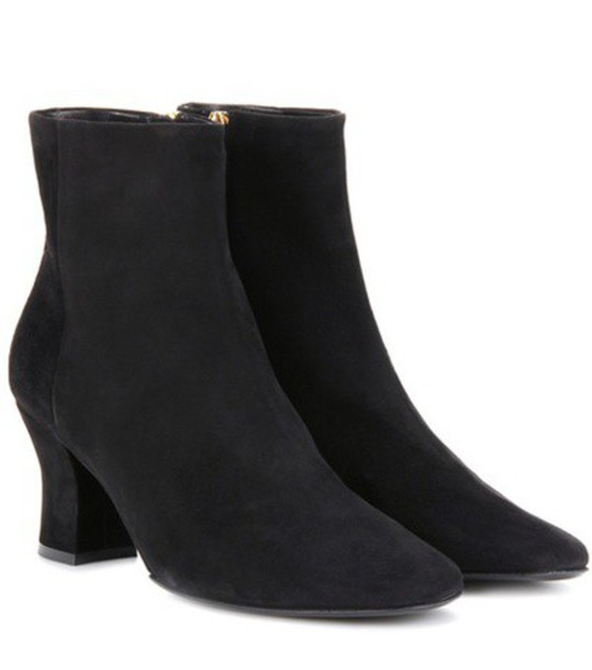 The Row Bowen Suede Ankle Boots in black