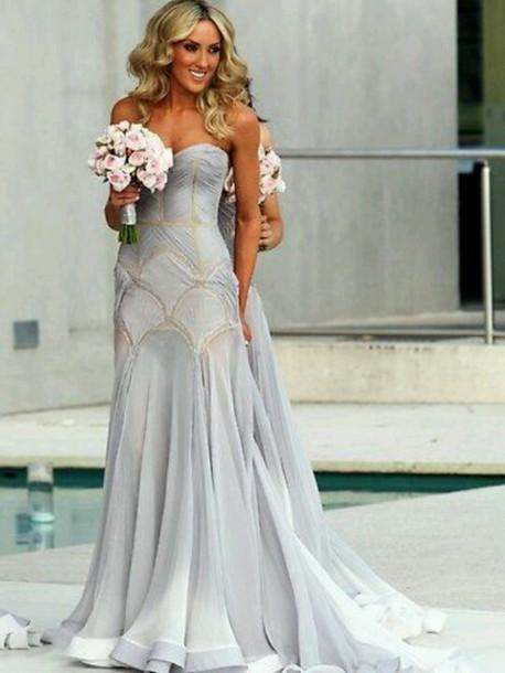 dress blue dress wedding dress elegant dress evening dress grey bridsmaid dress eligentt