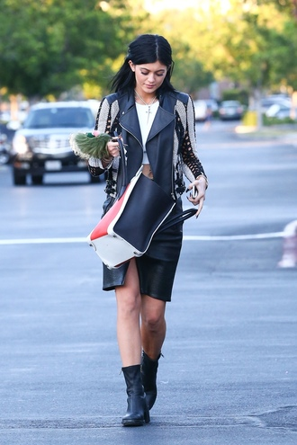 jacket kylie jenner leather jacket couture buckles