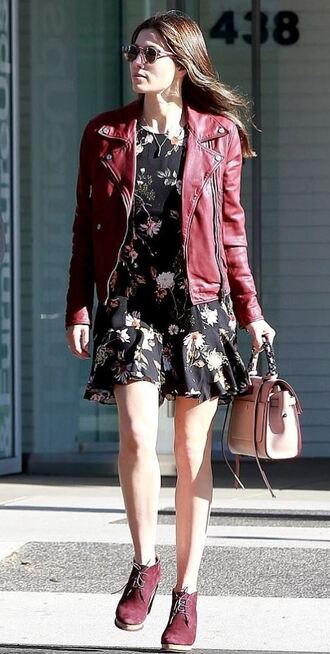 dress ankle boots fall outfits streetstyle jessica biel mini dress floral floral dress purse