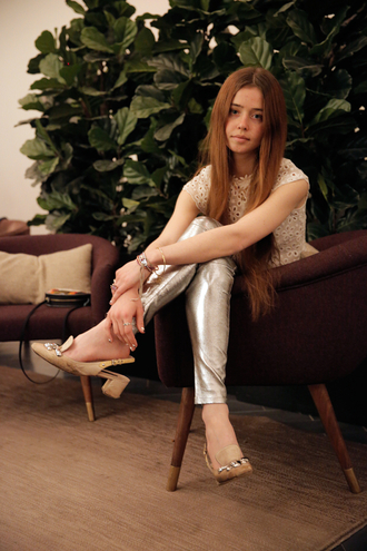man repeller blogger leggings silver crochet top smoking slippers