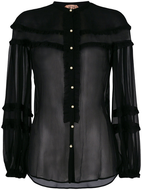 No21 blouse sheer blouse sheer women black silk top