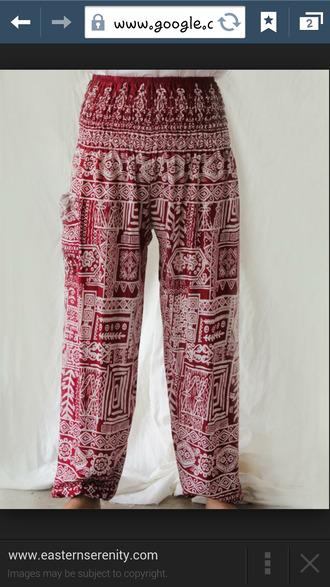 red pants genie pants
