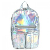 bag,silver,holographic,metallic,fashion,back to school,style,cool,trendy,backpack,boogzel