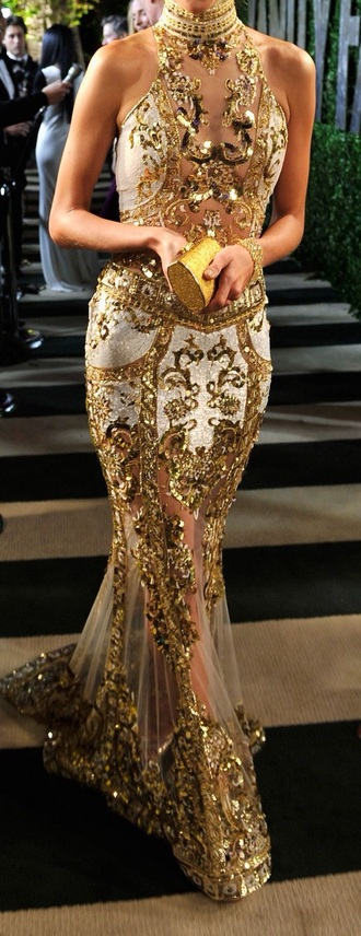 dress gold couture style prom