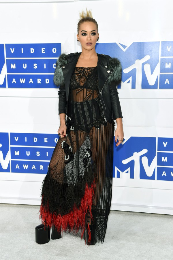 dress vma mesh dress feather dress black lace dress lace dress mesh long dress gown maxi dress jacket black leather jacket leather jacket black jacket shoes platform heels high heels black high heels rita ora celebrity style celebrity see through black dress platform shoes mtv lace see through dress marc jacobs