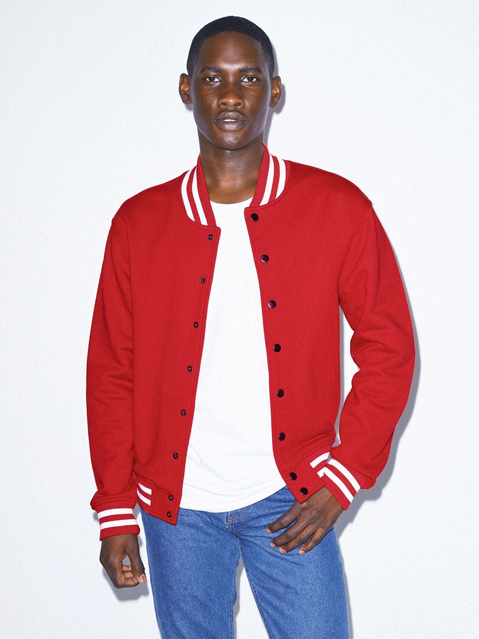 Men's Heavy Terry Club Jacket in Red  , Cotton
