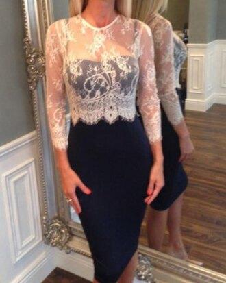 dress fashion lace trendy stylish jewel neck long sleeve lace splicing dress for women long sleeves classy elegant rosegal-dec