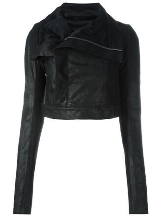 jacket leather jacket cropped leather black