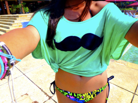 shirt neon moustache t shirt summer green mustache t-shirt swimwear mint bikini
