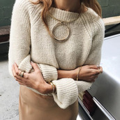 jewels,tumblr,sweater,beige sweater,necklace,knitted sweater,knitwear,slip dress,statement necklace,off-white sweater,fall outfits,office outfits,cute outfits,outfit idea,date outfit,gold choker,gold,choker necklace,jewelry,nude sweater,bracelets,ring,skirt,nude skirt
