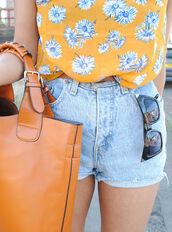 blouse,sunglasses,bag,orange,orange bag,classy,chic,tumblr,alternative,blogger,bohemian,boho,chiffon,cute,denim,floral,flowers,girly,grunge,hippie,hipster,instagram,kawaii,neon,ombre,pastel,rainbow,studs,summer,sunflower,tropical,vintage,shorts,white,yellow,blue,tank top,t-shirt,high shorts,too,daisy,brown,shirt,floral top,flower top,flower shirt,floral shirt,outfit,ootd,orange floral,dress,top,mustard,bright,cute top,casual top,denim shorts,high waisted,light blue,light blue denim,mid rise