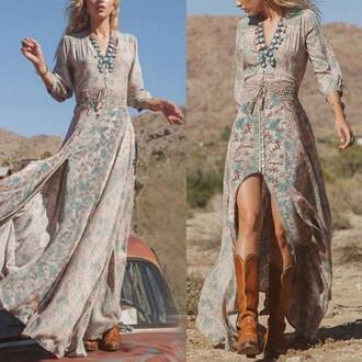 dress boho bohemian maxi dress gypsy