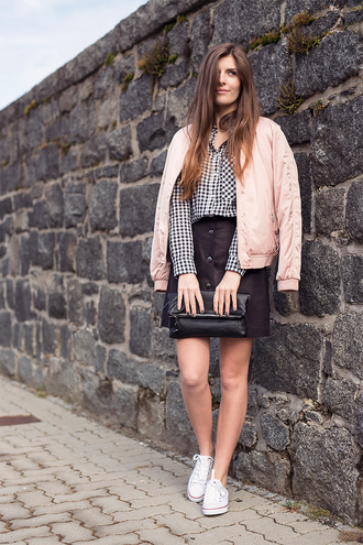 simple et chic blogger bomber jacket pink jacket jacket shirt skirt shoes bag