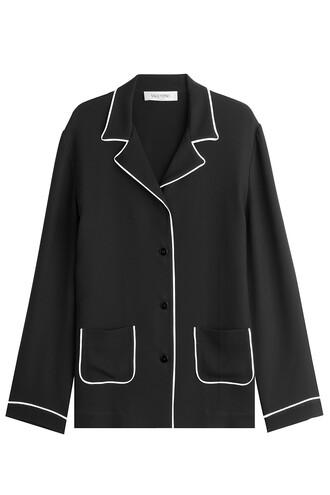 blazer silk black jacket