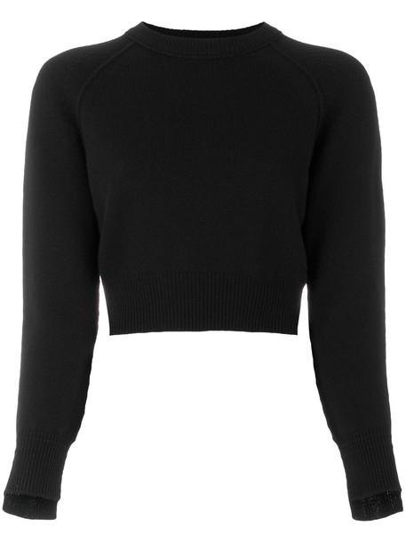 Helmut Lang jumper cashmere jumper cropped women black sweater