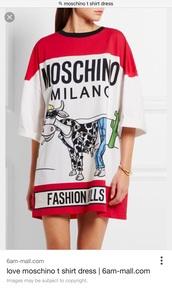 dress,moschino,baggy t shirt