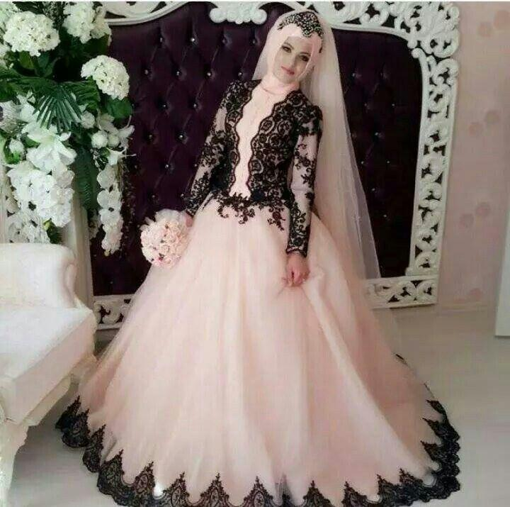 a1dcc503000 White Wedding Dresses 2016 Arabic Style Hijab Pink Tulle Black Appliques  Muslim Wedding Dresses Empire Long ...