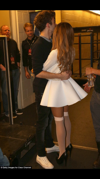 ariana grande dress white dress nathan sykes hugs short white dress
