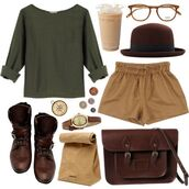 sunglasses,glasses,brown,hipster,nerd glasses,shorts,shirt,shoes
