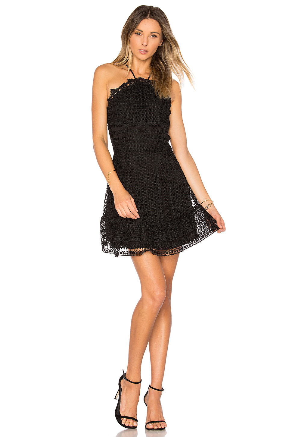Karina Grimaldi Benjamin Lace Mini Dress in black