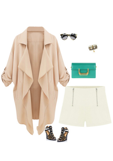 Sleeves Tab Draped Lapel Blazer - Neutral Pink - Lookbook Store