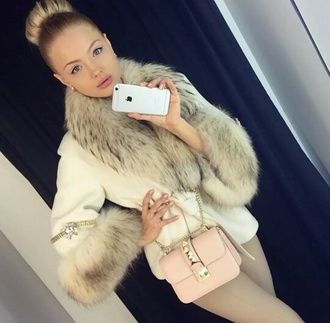 coat overcoat white chic fur