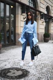 hug you,blogger,bag,le fashion image,sunglasses,top,jeans,casual friday