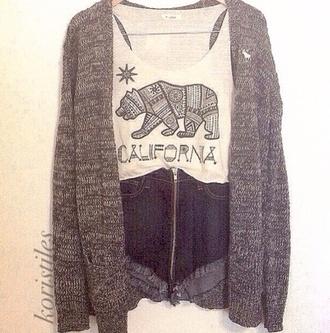 shirt california top california republic bear white t-shirt cute sweater grey white shorts blouse tank top clothes t-shirt jacket