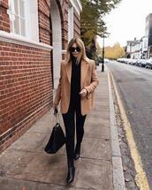 jacket,blazer,jeans,black jeans,skinny jeans,black turtleneck top,ankle boots,handbag,sunglasses