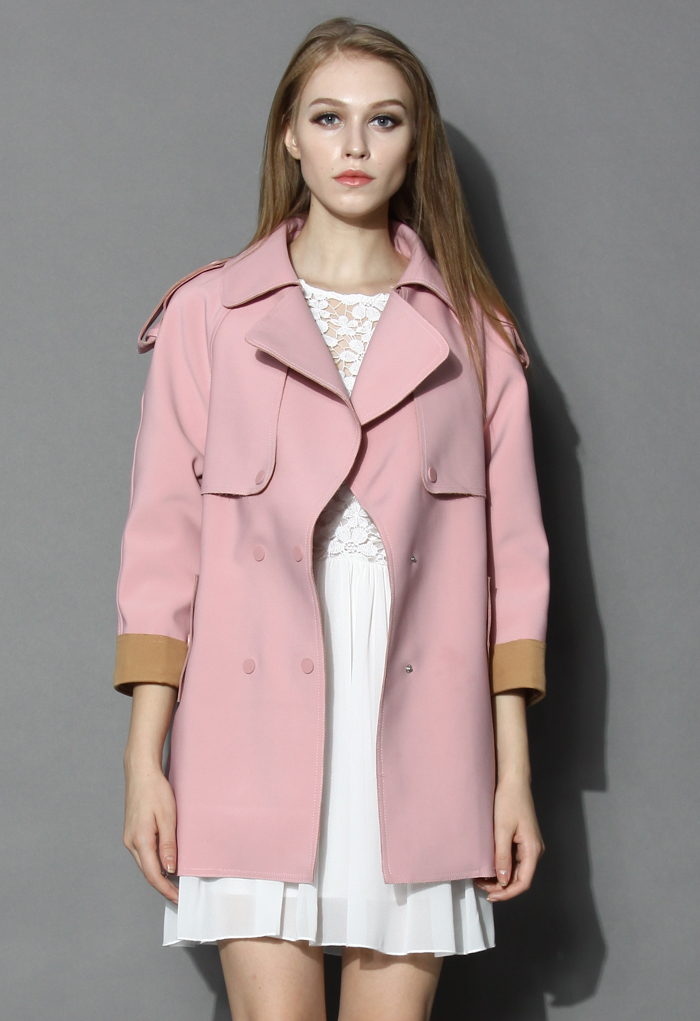 Smoky Pink Cocoon Trench Coat - Retro, Indie and Unique Fashion