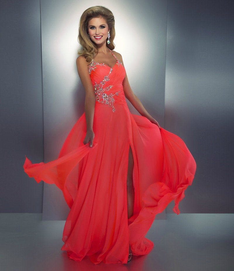Aliexpress.com : buy 2013 new arrival evening dresses long halter crystal beaded watermelon prom party dresses with front slit 50007a from reliable bead image suppliers on suzhou babyonline dress store