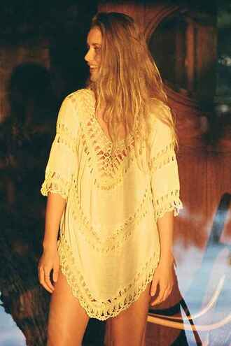 top tunic boho boho chic cover up crochet top