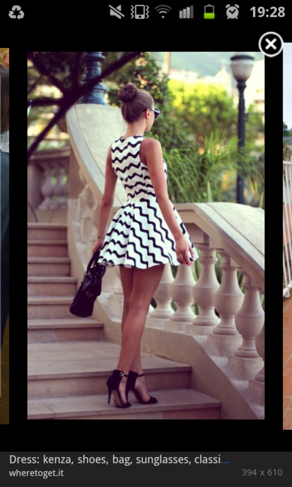 dress black white zigzag skaterdress