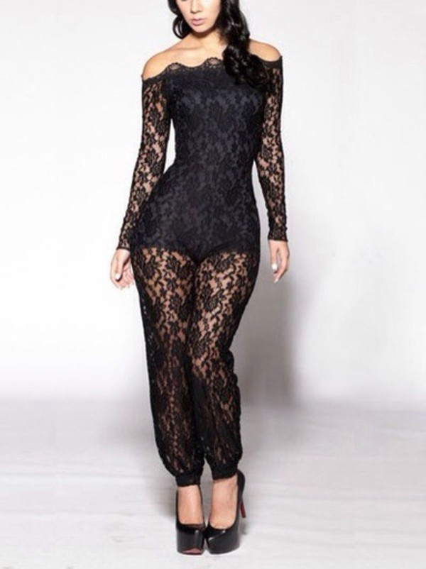 jumpsuit lace up lace black
