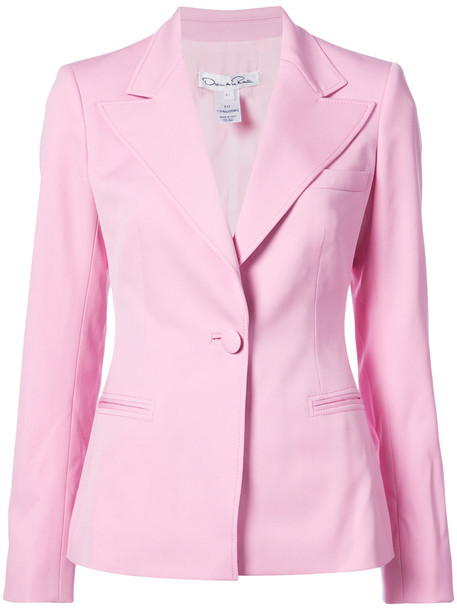 oscar de la renta blazer women spandex silk wool purple pink jacket