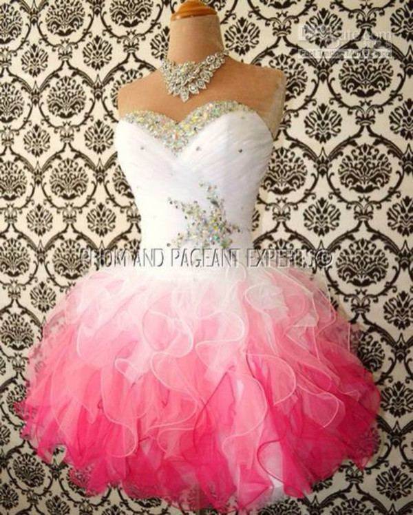 pink and white white dress white pink dress pink prom dress cocktail dress