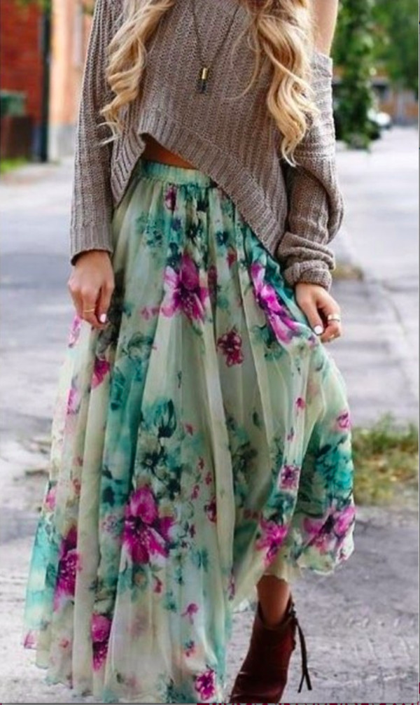 skirt sweater floral skirt shoes high heels boho shorts
