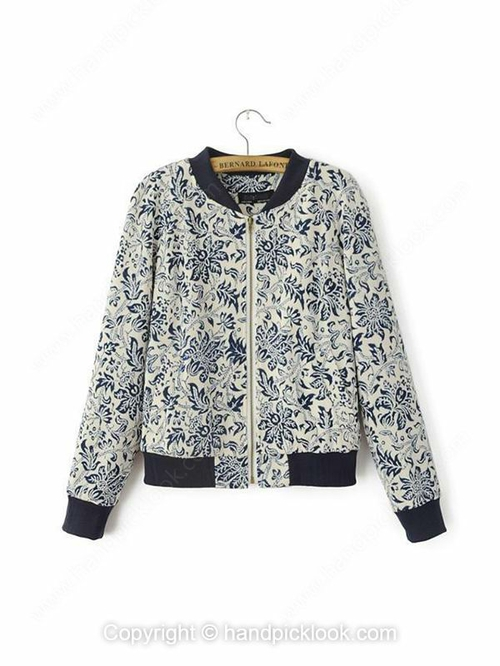 Blue Stand Up Collar Long Sleeve Floral Print Coat - HandpickLook.com
