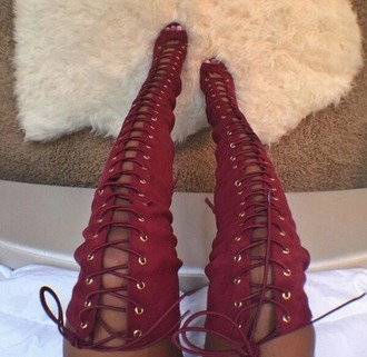 shoes thigh high boots red boots open toed boots high heels red heels lace up boots lace up knee high boots red suede boots tumblr heels over the knee boots red shoes sexy sexy shoes kinky knee high burgundy tie up heels boots knee-high boots