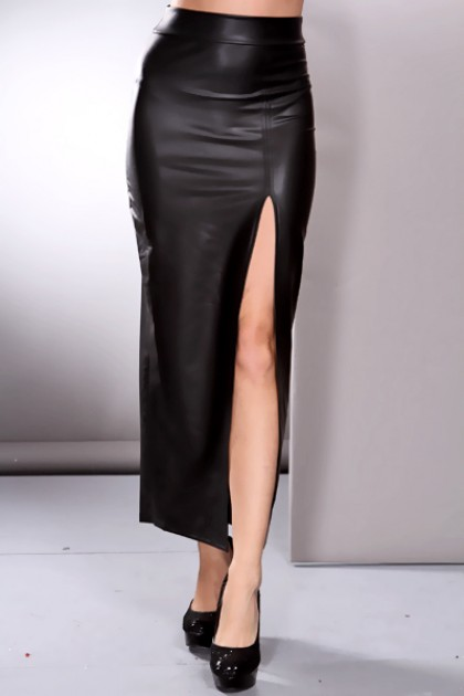 Faux Leather High Waist Slit Side Sexy Skirt / Sexy Clubwear ...