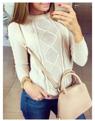 sweater streetwear rose wholesale chic winter outfits knitwear bag casual