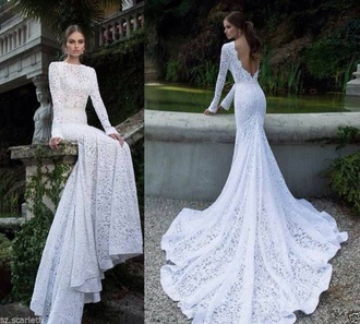 Mermaid White Lace Wedding Dress - Shop for Mermaid White Lace ...