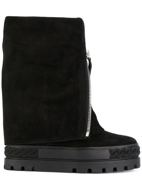 CASADEI snow boots women snow boots leather suede black shoes
