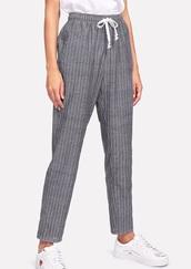 pants,girly,grey,joggers,pinstripe