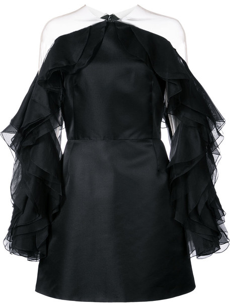 dress ruffle women black