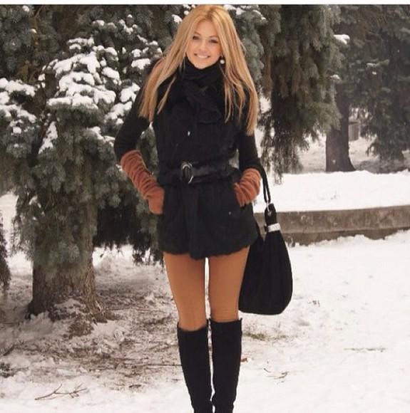 black style coat scarf winter sweater