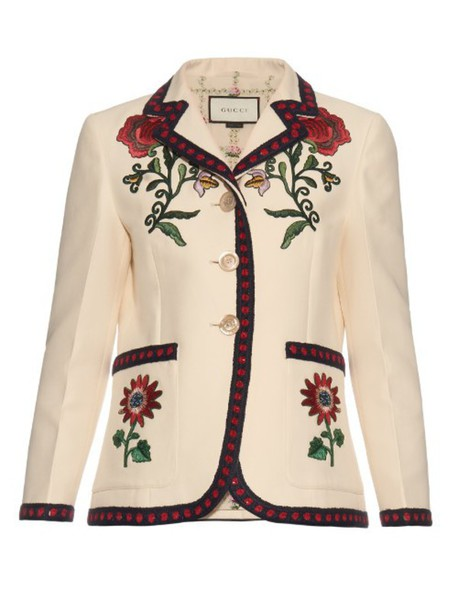 gucci jacket embroidered floral cotton silk white